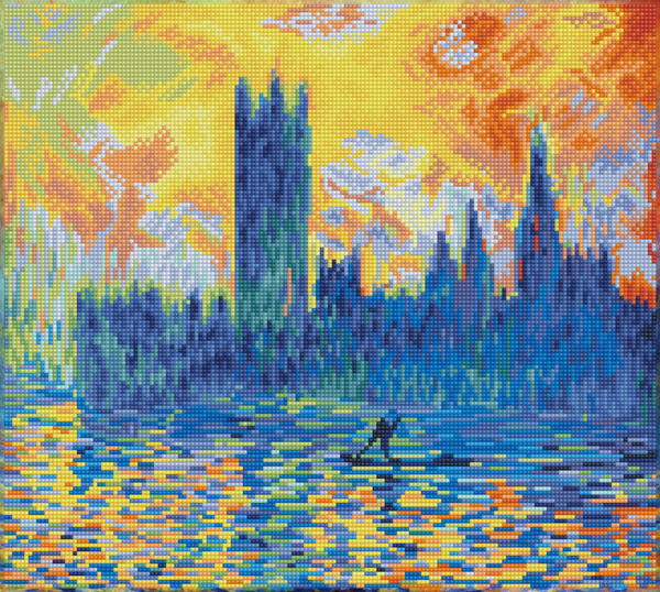 DD10.038 DIAMOND DOTZ® - 46x41cm - London Parliament in Winter (aprës Monet)