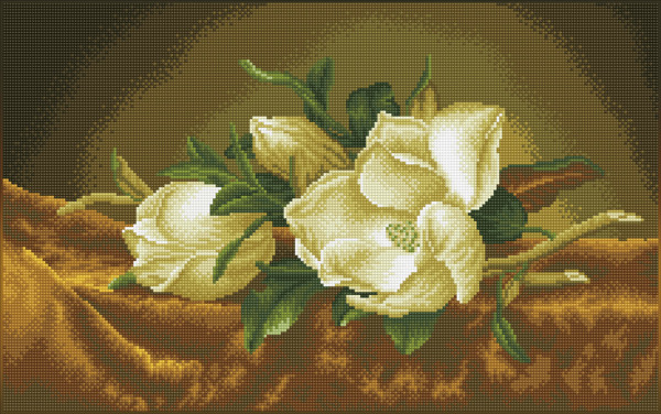 DD12.046 Diamond Dotz® - 66x41cm Magnolias on gold velevt (après Martin Johnson Heade)