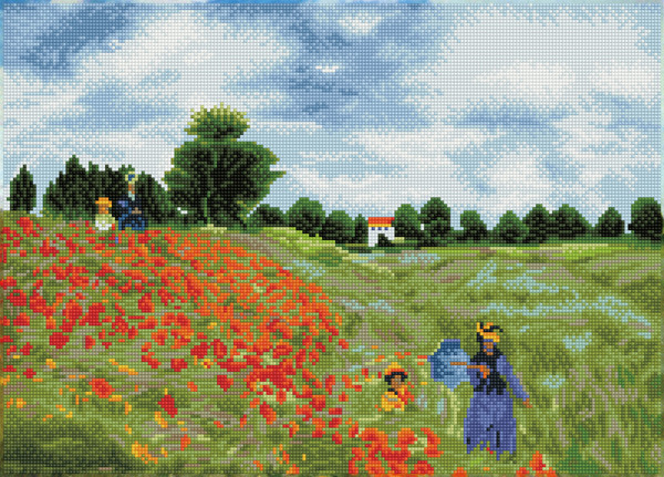 DD12.048 DIAMOND DOTZ® - 57x41cm - Poppy Fields (aprës Monet)