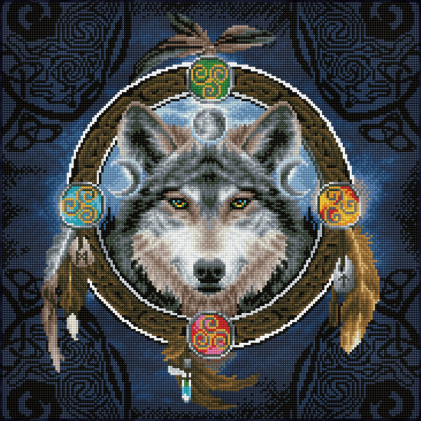 DD12.049 DIAMOND DOTZ® - 51.5x51.5cm Celtic Wolf Guide