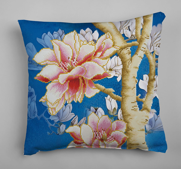 DD16.014 Diamond Dotz® - 45x45cm kussen Magnolias on blue 2