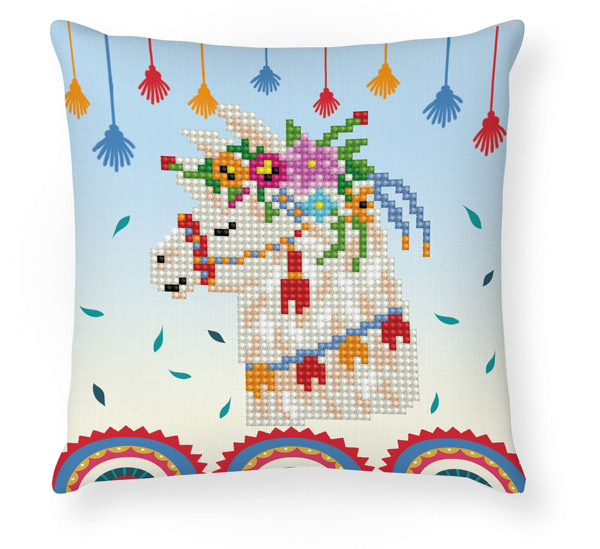 DDP2.045 DIAMOND DOTZ® - 18x18cm kussen - Llama Party Mini Pillow