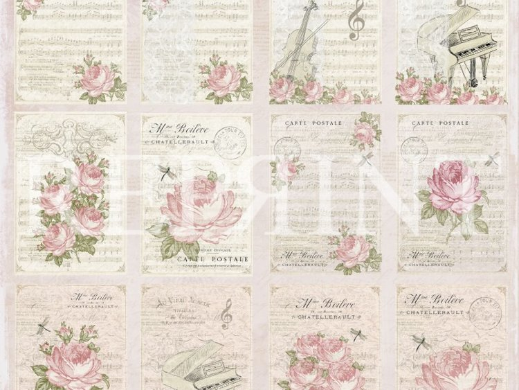 RP0326 Music & Roses Collection 12x12 Tags