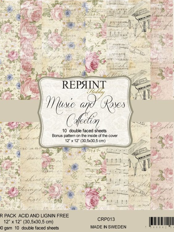 CRP013 Paperpack 12x12 Music & Roses Collection 10 sheets/pk