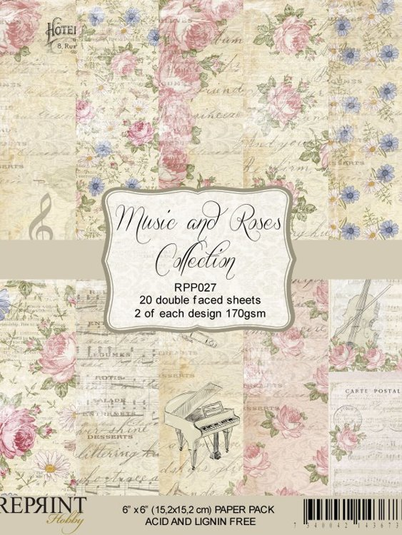 RPP027 Paperpack 6x6 Music & Roses Collection 20 sheets/pk