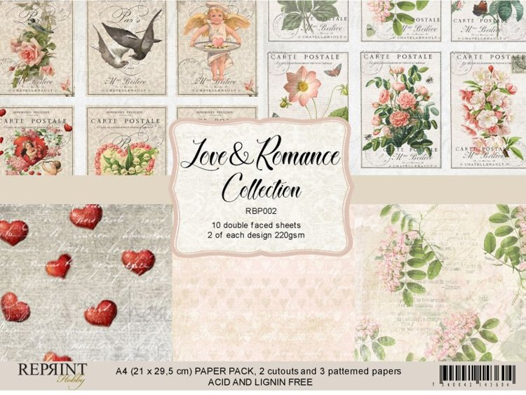 RBP002 Paperpack A4 Love & Romance Collection 10 sheets