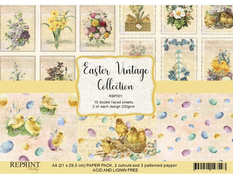 RBP001 Vintage Easter Collection Paperpack A4 10 sheets
