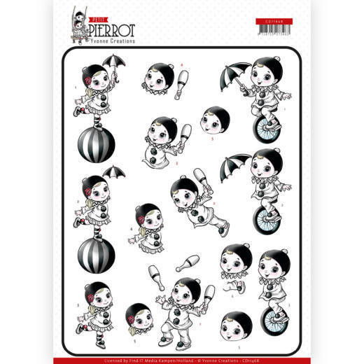 CD11468 3D cutting sheet - Yvonne Creations - Petit Pierrot - At the Circus