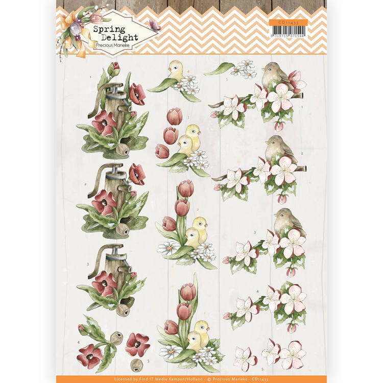 CD11433 3D cutting sheet - Precious Marieke - Spring Delight - Red Flowers (HJ180)