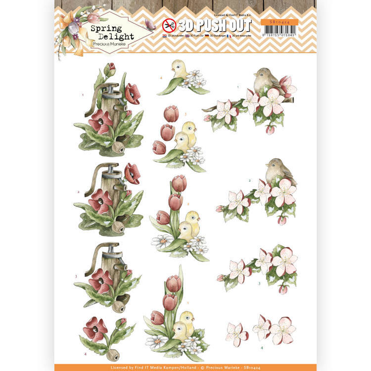 SB10424 3D Pushout - Precious Marieke - Spring Delight - Red Flowers (HJ180)