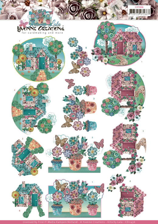 CD11436 3D cutting sheet - Yvonne Creations - Kitschy Lala - Kitschy Garden