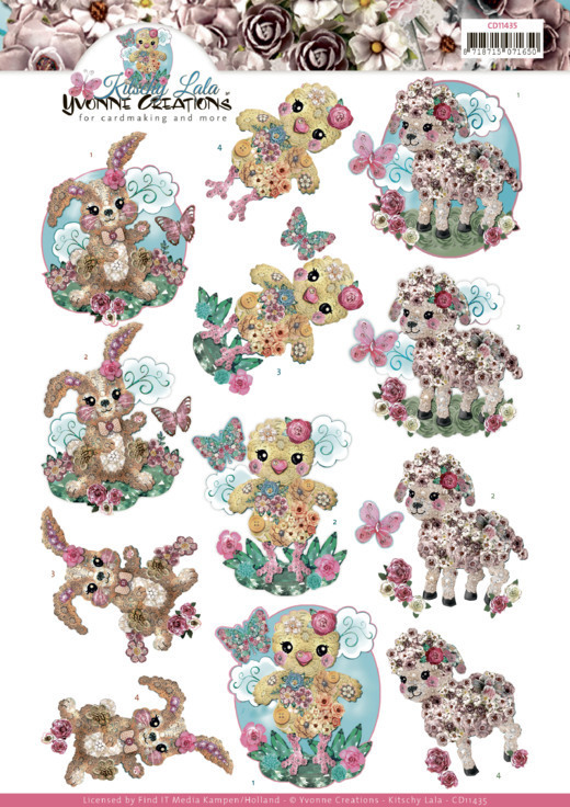 CD11435 3D cutting sheet - Yvonne Creations - Kitschy Lala - Kitschy Baby Animals