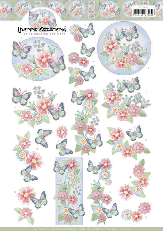CD11449 3D cutting sheet - Yvonne Creations - Funky Butterfly