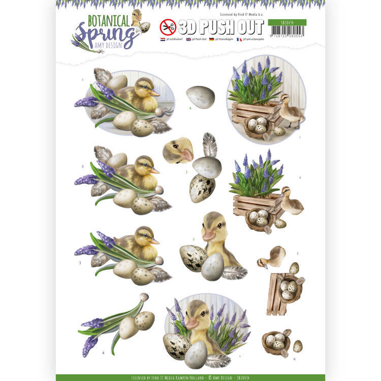 SB10434 3D Pushout - Amy Design - Botanical Spring - Happy Ducks (HJ181)