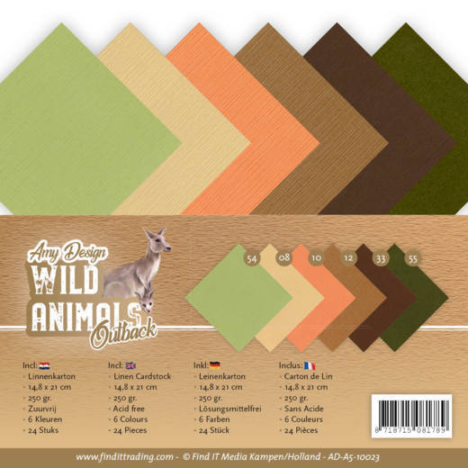 AD-A5-10023 Linen Cardstock Pack - A5 - Amy Design - Wild Animals Outback (HJ182)