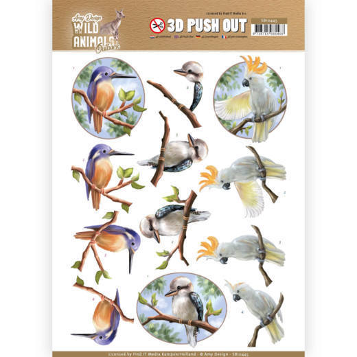 SB10445 3D Pushout - Amy Design - Wild Animals Outback - Parrot (HJ182)