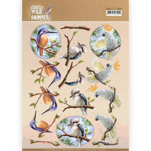 CD11486 3D Cutting sheet - Amy Design - Wild Animals Outback - Parrot (HJ182)