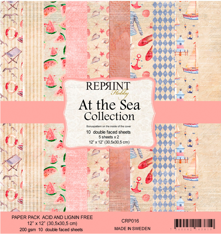 CRP016 At the Sea collection pack 2 of each, total 10 papers