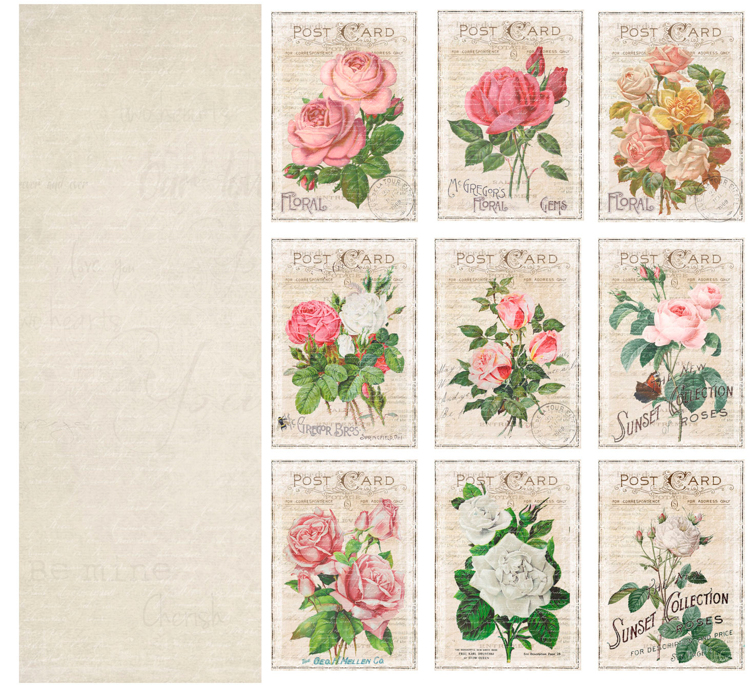 KP0063 Vintage Toppers A4 Cutouts Roses, 200gsm, doublesided
