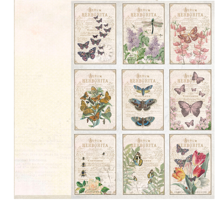 KP0064 Vintage Toppers A4 Cutouts Butterflies, 200gsm, doublesided
