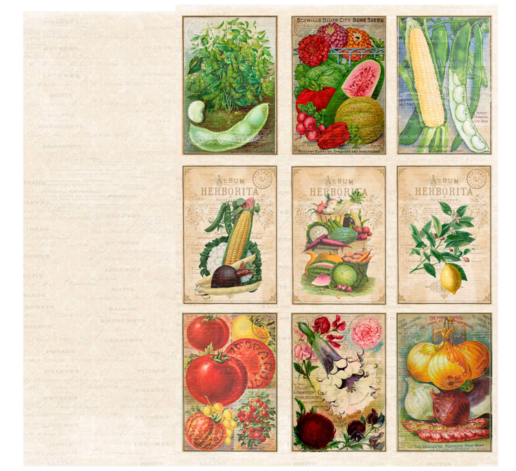 KP0066 Vintage Toppers A4 Cutouts Veggies, 200gsm, doublesided