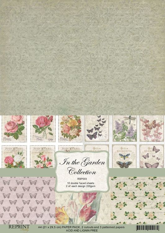 RBP003 In the Garden Collection A4 10 papers 2 of each design, 200 gsm doublesided