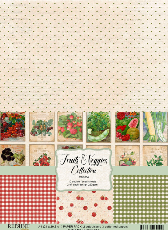 RBP004 Fruits & Veggies Collection A4 10 papers 2 of each design, 200 gsm doublesided