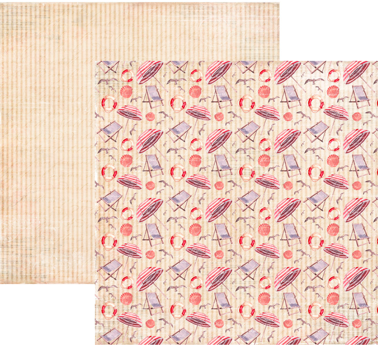 RP0332 At the Beach Collection - At the Beach Double-sided patterned paper 12x12 200 gsm
