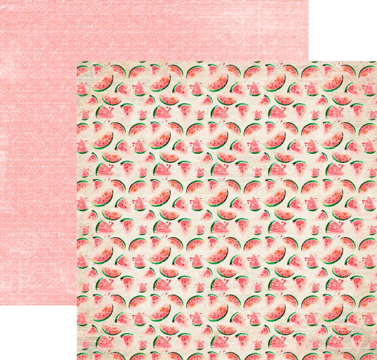 RP0333 At the Beach Collection - Watermelons Double-sided patterned paper 12x12 200 gsm
