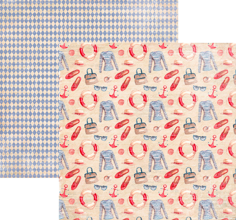 RP0335 At the Beach Collection - Clothes Double-sided patterned paper 12x12 200 gsm
