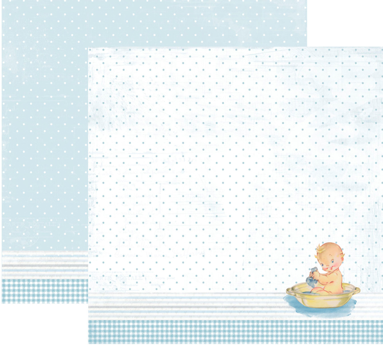 RP0337 It´s a boy Collection - Baby in bath tub Double-sided patterned paper 12x12 200 gsm