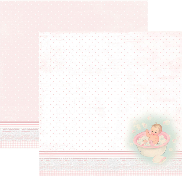 RP0342 It´s a girl Collection - Baby in bath tub Double-sided patterned paper 12x12 200 gsm