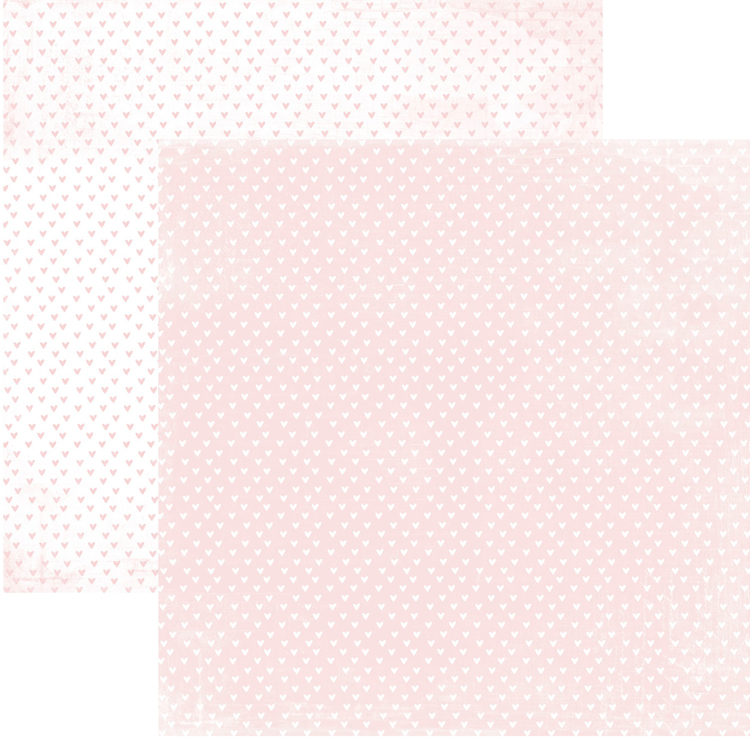 RP0345 It´s a girl Collection - Hearts Double-sided patterned paper 12x12 200 gsm