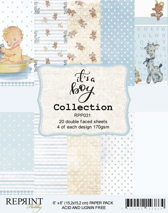 RPP031 It´s a Boy collection pack 4 of each, total 20 papers