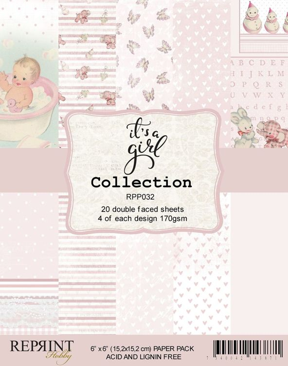 RPP032 It´s a Girl collection pack 4 of each, total 20 papers