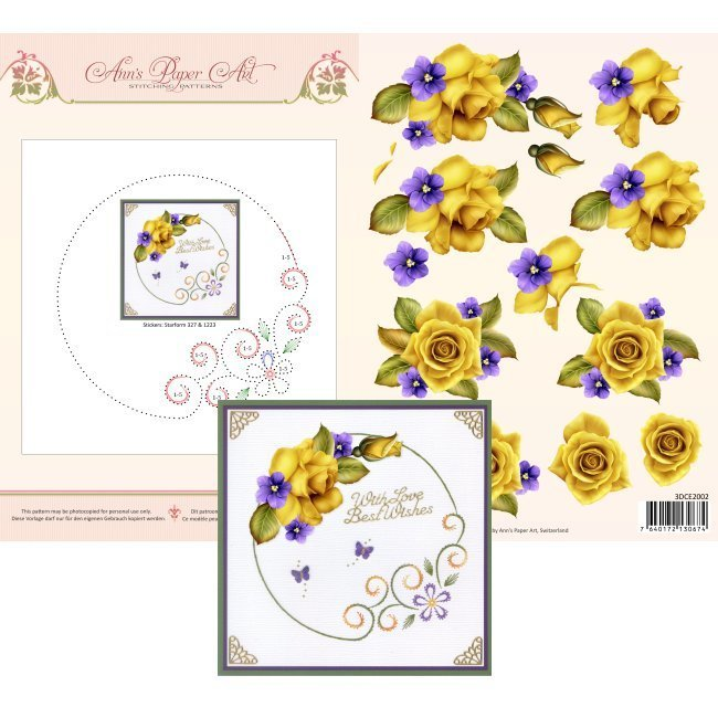 3DCE2002 3D Card Embroidery Sheet 2 Yellow Roses