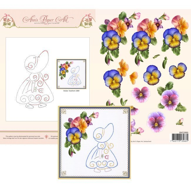 3DCE2003 3D Card Embroidery Sheet 3 Summer Pansies