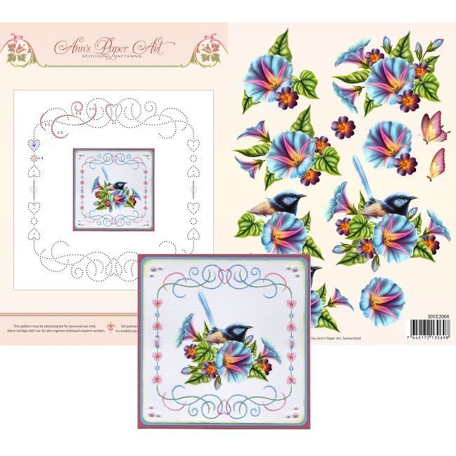 3DCE2004 3D Card Embroidery Sheet 4 Morning Glory