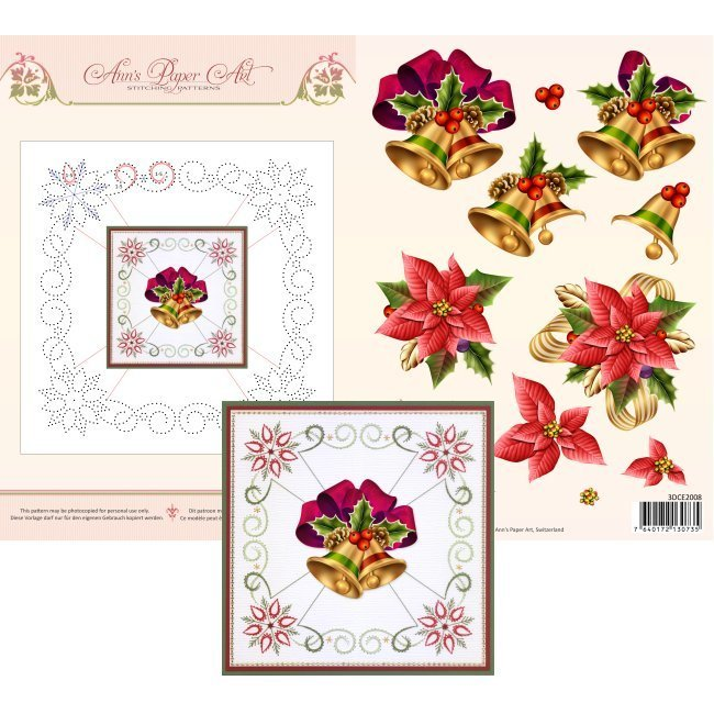 3DCE2008 3D Card Embroidery Sheet 8 Christmas Bells