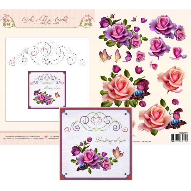 3DCE2009 3D Card Embroidery Sheet 9 Rose Romantica