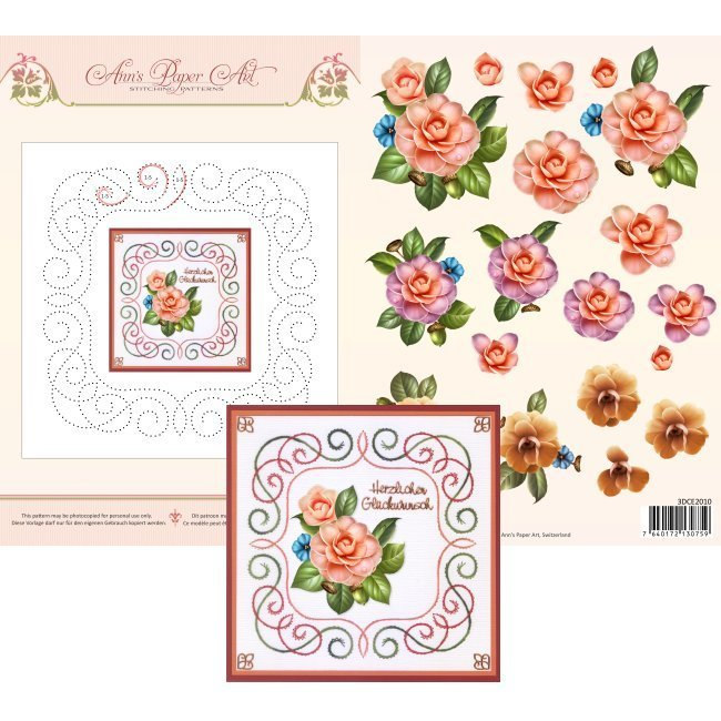 3DCE2010 3D Card Embroidery Sheet 10 Camellia
