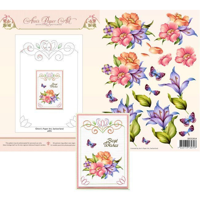 3DCE2014 3D Card Embroidery Sheet 14 Blue Lily