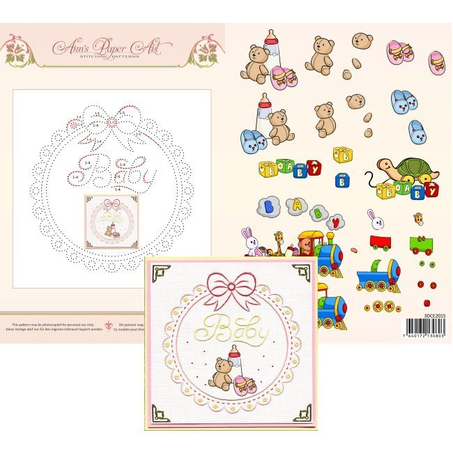 3DCE2015 3D Card Embroidery Sheet 15 Baby Frame