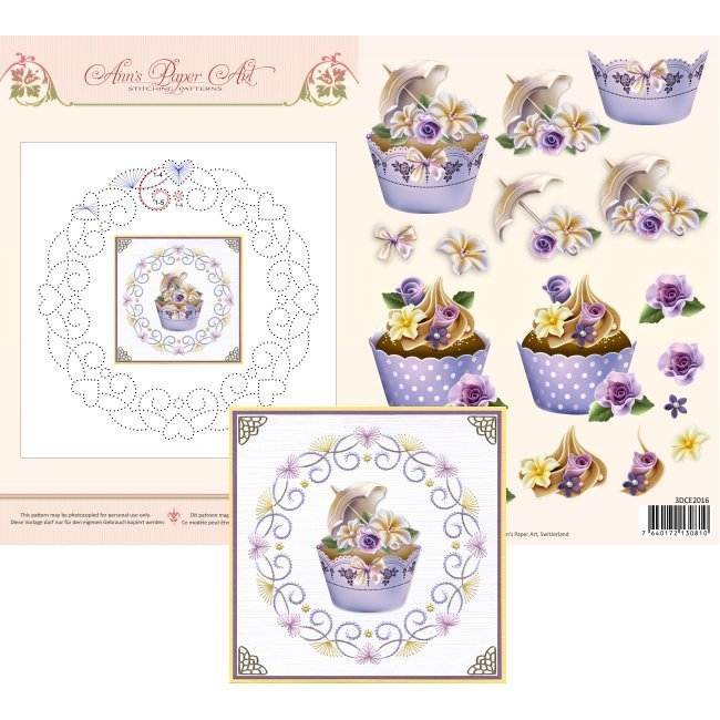 3DCE2016 3D Card Embroidery Sheet 16 Cupcakes