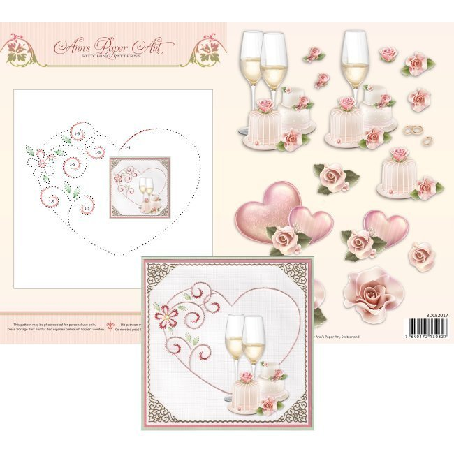 3DCE2017 3D Card Embroidery Sheet 17 Heart
