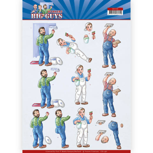CD11481 3D Cutting sheet - Yvonne Creations - Big Guys - Workers - Handyman
