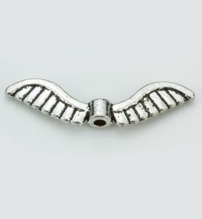 12419-1901Angel Wings, Platinum, 5x26mm, 6pcs