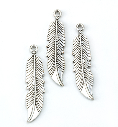 12419-1914 Metal Charms, Leaves, Platinum