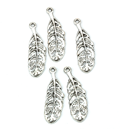 12419-1912 Metal Charms, Feathers, Platinum