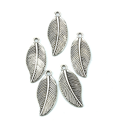 12419-1913 Metal Charms, Leaves, Platinum